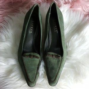 Lauren Ralph Lauren Green Suede Pointy Shoes